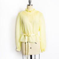 Vintage 1970s Blouse - Sheer Yellow Chiffon Embroidered Top 70s - Medium
