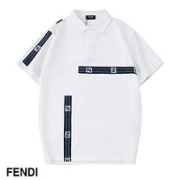 Fendi 2019 new high-end light luxury contrast color embroidery ribbon lapel polo shirt white