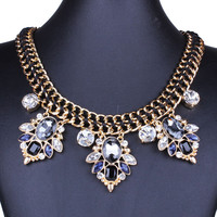 Black Rhinestone Chain Necklace And Earrings