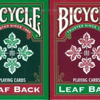 Bicycle Leaf Back Playing Cards 2 Deck Set 1 Green & 1 Red