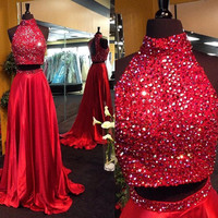 Two Pieces High Neck Red Prom Dresses
