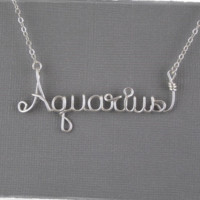 Aquarius Astrology Sign Wire Word Pendant Necklace
