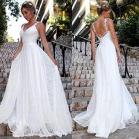 White Long Party Dress Wedding Amazing Sexy Beading  Floor Length Women Lace Formal Wedding Bridesmaid Long Party Dress