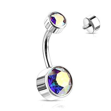 Implant Grade Titanium Internally Threaded Bezel Set Gem Belly Button Ring