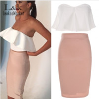 Lady Sexy Strapless Backless Ruffle Off Shoulder Sleeveless Bodycon Dress