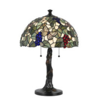 1-Light 23.25'' Dark Bronze Incandescent Table Lamp With Stained Glass Butterfly