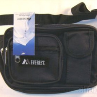 Everest Large Fanny Waist Pack Navy Blue Zippered Multiple Pocket Adjustable 59""