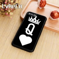 LvheCn Hot King Queen Phone Case Cover For iPhone 4 5s SE 6 6s 7 8 plus 10 X Samsung Galaxy S5 S6 S7 edge S8 S9 plus note 8