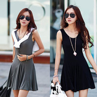 Casual Scoop Collar Sleeveless Solid Color Women's Mini Dress One Size (Fit Size XXS to S) = 1841460292