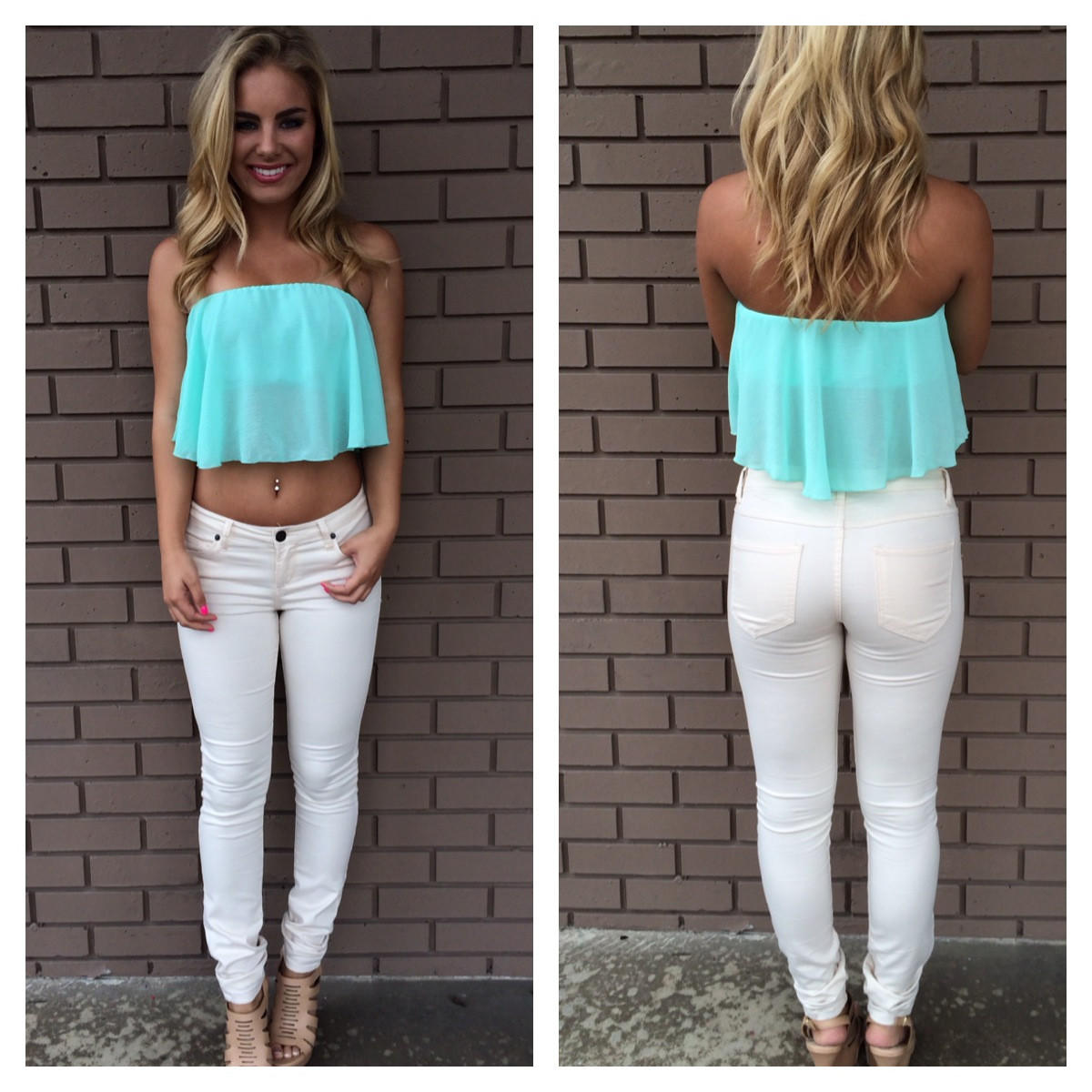 Image of Mint Itsy Bitsy Crop Top