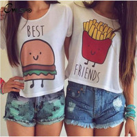 1PC Casual Crop Tops Women Summer Round Neck Best Friends Print T Shirts Fashion Short Sleeve Printed Shirt Female QL820
