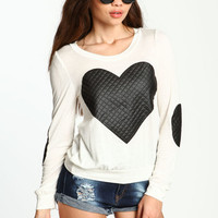 QUILTED HEART KNIT TOP
