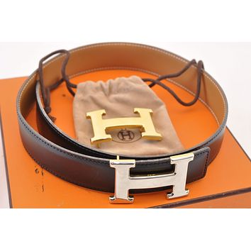 HERMES Leather H Buckle Reversible Belt Size 60 Black Brown Auth sa1342