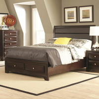 Jaxson Queen Bed with Upholstered Headboard and Storage Footboard