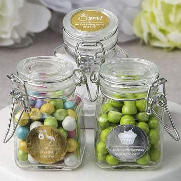 Glass Apothecary Jars with Hinged Lids - Personalized Gift Collection