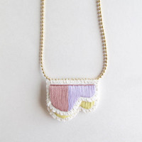 Hand embroidered necklace abstract layered geometric design with lavenders and yellow colors on matte gold tone ball chain Spring trend