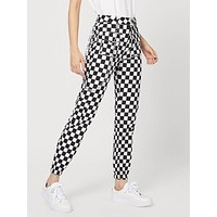 Checkerboard Pants With Chain