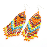 Colorful Bohemian Style All-matching Gorgeous Beaded Tassel Earring Drop Dangle Earring, Birthday Gifts Party Jewlry, Fashion Jewlry 8092689