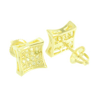 Kite Shape Earrings 14K Yellow Gold Finish Lab Diamonds Screw On