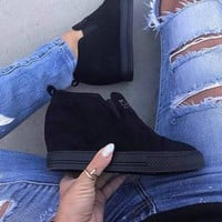 New Black Round Toe Wedges Fashion Ankle Shoes