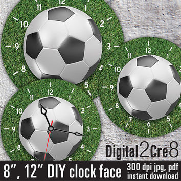 "Football style Large Clock Face - 12"" and 8"" Digital Downloads - DIY - Printable Image - Iron On Transfer - Wall Decor - Crafts - jpg+pdf"