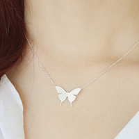 Butterfly Necklace, Feminine Necklace, Pure Necklace, Korean Jewelry, Insect Necklace, Womens Necklace, Girls Gift, Elegant Necklace