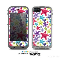 The Smiley Faced Vector Colored Starfish Pattern Skin for the Apple iPhone 5c LifeProof Case