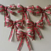 Plaid Christmas Tree Set of 6- Tree Ornament Decorations-Gift Wrap-Gift Topper-Christmas Gift Bows-Christmas Tree Ornaments-Wreath Bows