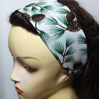 Glitter Pine Cones and Pine Boughs Headband Reversible Wide Wrap Around Fabric Headband