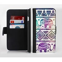 The Tie-Dyed Aztec Elephant Pattern Ink-Fuzed Leather Folding Wallet Credit-Card Case for the Apple iPhone 6/6s, 6/6s Plus, 5/5s and 5c