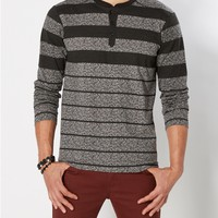 Gray Static Striped Henley Top