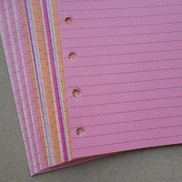 Lined Notepaper inserts - Fits Pocket Filofax or Organiser - pink and purple