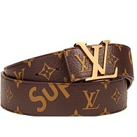 LOUIS VUITTON MENS X SUPREME MONOGRAM BELT BROWN SIZE 100 RECEIPT NEW AUTHENTIC Tagre™