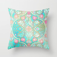 Floral Moroccan in Spring Pastels - Aqua, Pink, Mint & Peach Throw Pillow by Micklyn