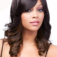 Long Wavy Synthetic Wigs Side Parting Ombre Color Kanekalon Wig