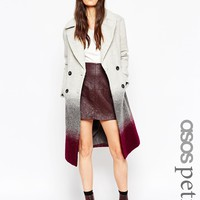 ASOS PETITE Coat in Over Sized Fit in Ombre at asos.com