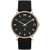 Marc by Marc Jacobs MBM1269 Women's Baker Black Dial Yellow Gold Steel Black Leather Strap Watch