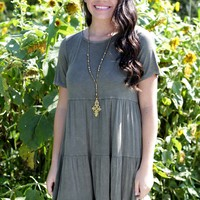 Tiered Up Dress, Olive
