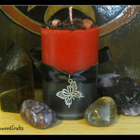 POMEGRANATE - Scented Pillar Candle - Greek Goddess - Persephone Kore - Pagan Wicca - Wiccan Witch - Worship Altar Shrine - Black Witchcraft