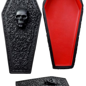 Ebros Day of The Dead Gothic Baroque Floral Skull Coffin Jewelry Box Figurine DOD Floral Sugar Skull Decor
