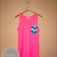 Neon Pink and Chevron Pocket tank by CoastCouture on Etsy