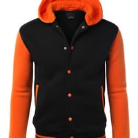 LE3NO Mens Varsity Baseball Bomber Jacket With Detachable Hoodie
