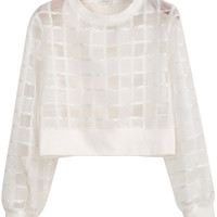 White Long Sleeve Sheer Plaid Crop Blouse - Sheinside.com