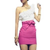 Layered Ruffle Upper Self Tie Bowknot One Shoulder Dress for Women