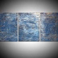 "View: triptych 3 panel wall art colorful metallic silver blue images "" Triptych Silver 2 "" effect 3 panel wall abstract canvas abstraction 48 x 20 "" other sizes available 