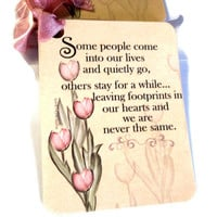 """2 Gift Tags,  """"Some People Come Into Our Lives..."""", Tan Pink Green, Bridal Shower Tags, Special Friend Tags, Sentiment Gift Tags"""
