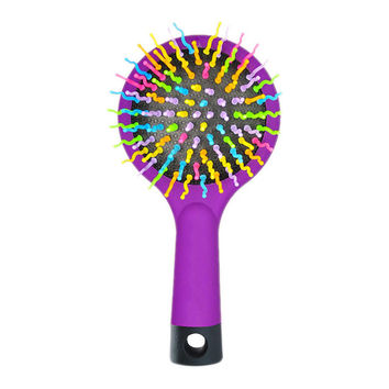 1 Piece Hot Selling Rainbow Volume Anti-static Magic Hair Curl Straight Massage Comb Brush Styling Tools With Mirror