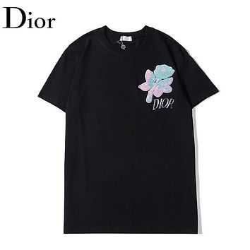 Dior New fashion embroidery letter floral couple top t-shirt Black