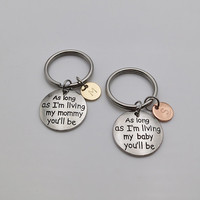 Two Tone Mother daughter Keychain I'll Love You Forever Quote keychain Mom gift daughter gift personalized gifts