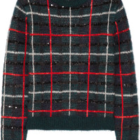 Saint Laurent - Sequined tartan mohair-blend sweater